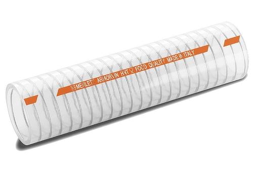 Tuyau alimentaire en PVC transparent avec spirale métalique